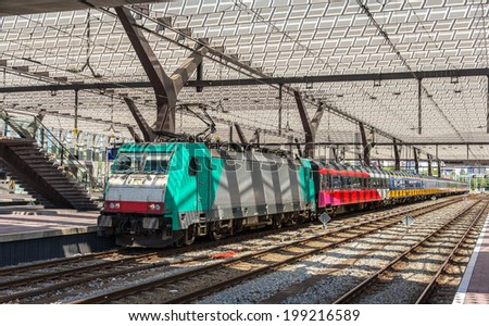 Dutch intercity train on Rotterdam station - stock photo