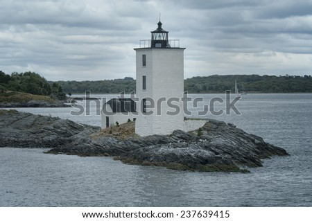 Dutch Island Lighthouse in Jamestown, Rhode Island - stock photo