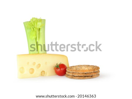 Dutch jarlsberg cheese wedge with three wholemeal crackers, a tomato and fresh celery, over  white background. - stock photo