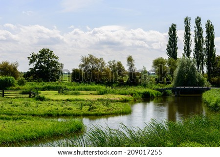 Dutch landscape green - stock photo