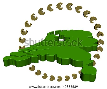 Dutch map with circle of euros illustration