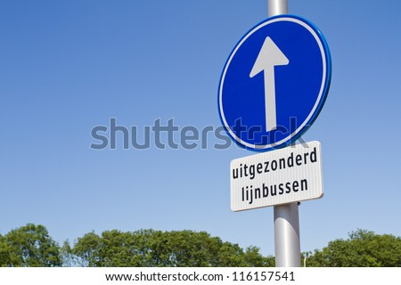 Dutch one way sign