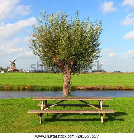 Dutch pastoral green landscape with willow tree ant wooden bench. Holland,Netherlands  - stock photo