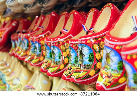 Dutch red wooden shoes - stock photo