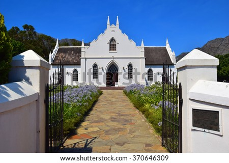 Dutch Reform Church Entrance in Franschhoek, South Africa - stock photo