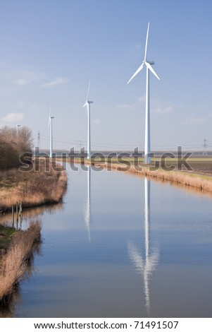Dutch rural landscape with big windturbines