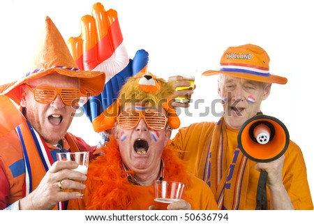 Dutch soccer fans in orange clothes with beer