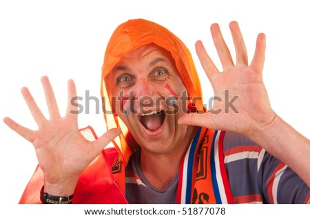 Dutch soccer supporter dressed in orange isolated on white