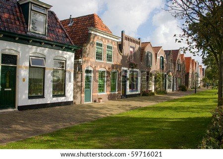 Dutch street on the isle texel - stock photo