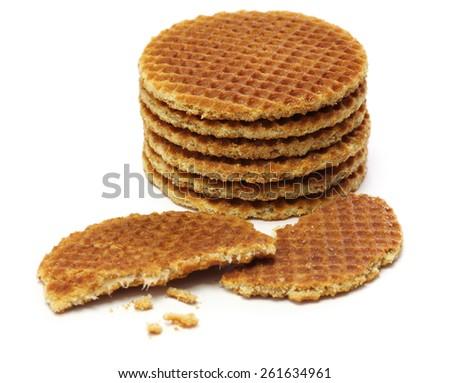 dutch stroopwafel, caramel waffle on white background - stock photo