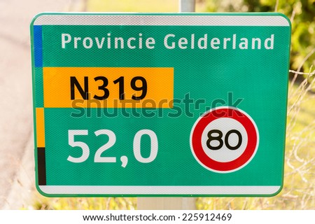 Dutch traffic sign on a provincial road