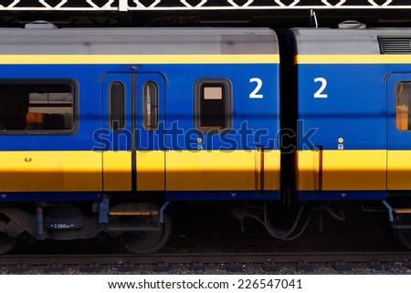 Dutch train waiting on a station - stock photo