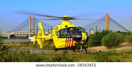 Dutch trauma helicopter - stock photo
