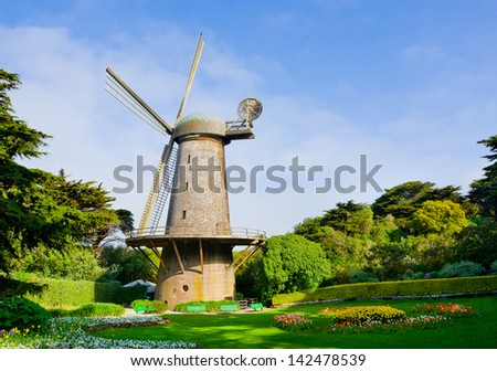 Dutch windmill in San Francisco - stock photo