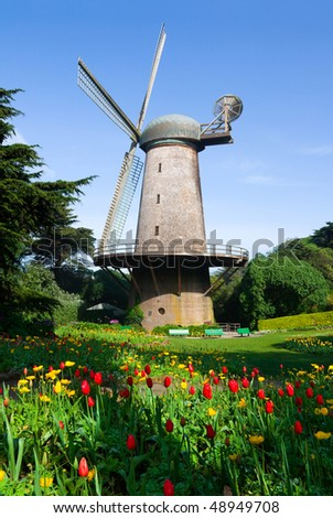 Dutch windmill in San Francisco - stock photo