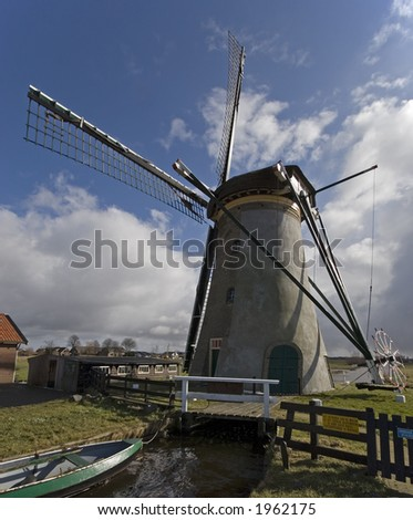 Dutch windmill near leiden, Netherlands. Shot in winter with rapid changing weather.