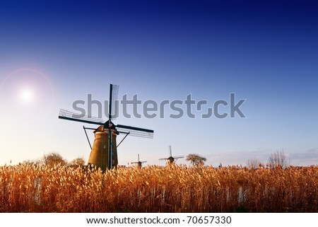 Dutch windmills Kinderdijk - stock photo