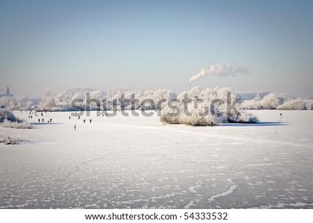 Dutch winter - Ooijpolder Netherlands - stock photo