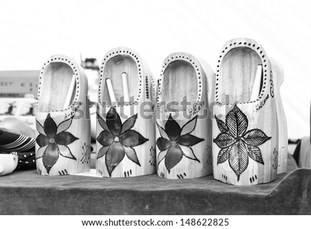 Dutch wooden shoes (black and white) - stock photo
