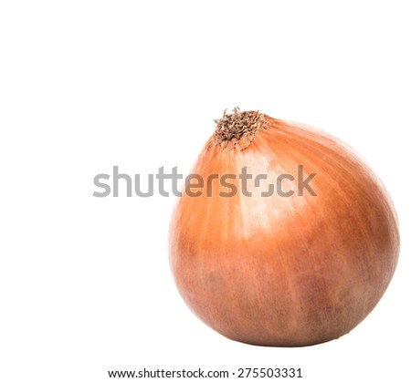 Dutch yellow onions over white background