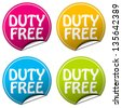 duty free sticker set - stock vector
