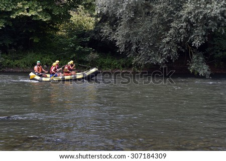 DUZCE - TURKEY - JULY 21:  Water rafting on the rapids of river Melen on July 21, 2015 in Duzce, Turkey. Melen River is most popular rafters in Turkey