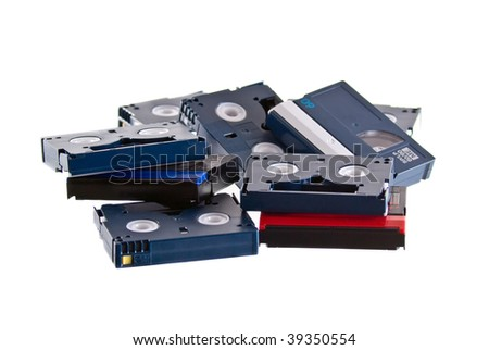 DV tapes on a white background - stock photo