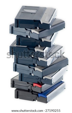DV tapes on the white background - stock photo