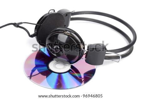 DVD and headphone - stock photo