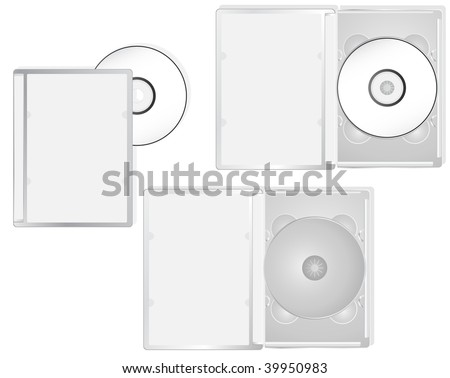 DVD and its boxes into different positions. Ideal for packaging purposes. - stock photo