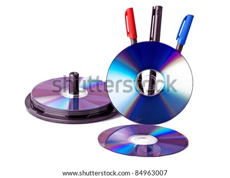 Dvd and pencil on white - stock photo