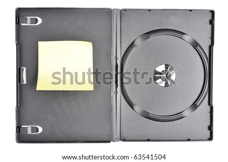 Dvd case with post it note isolated on white - stock photo