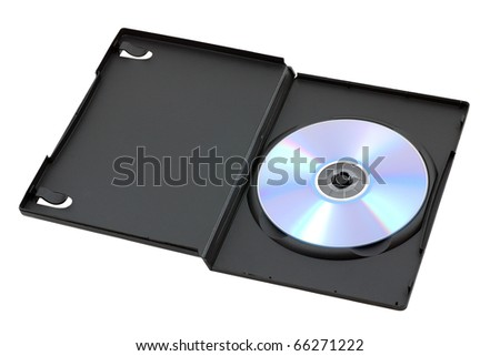 DVD CD Blu-ray disk in opened box isolated on white background