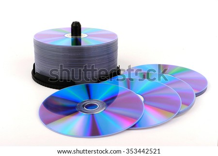 DVD, CD disc on white background, close-up, isolated - stock photo