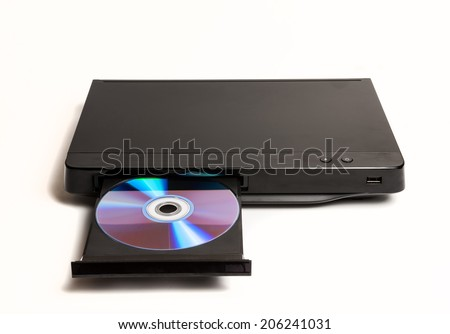DVD CD player with disk isolated on white - stock photo
