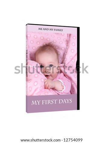 DVD cover with newborn - stock photo