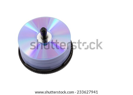 DVD disc tower on white isolated. - stock photo