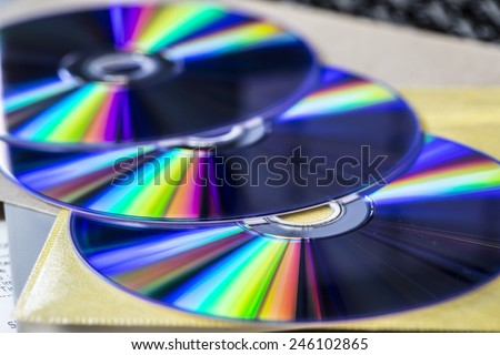 DVD drive on laptop computer. - stock photo