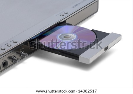 DVD karaoke system with inserted CD - stock photo