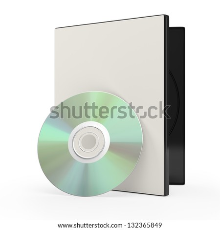 dvd or cd disk and case isolated on white. 3d rendered image
