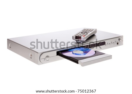 DVD player ejecting disc with remote control isolated on white background - stock photo