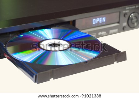 DVD player with an open tray, white background - stock photo
