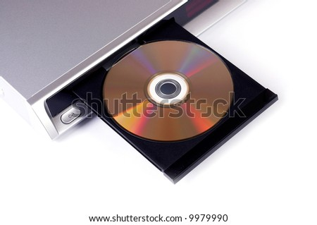 DVD player with open disc tray isolated on white - stock photo