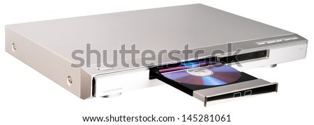 DVD player with open disk tray isolated on the white - stock photo