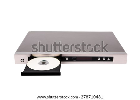 DVD player with open disk tray isolated on the white background - stock photo
