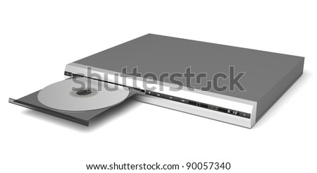 DVD player with open tray on white background