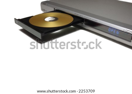 dvd player with open tray with a gold disk - stock photo