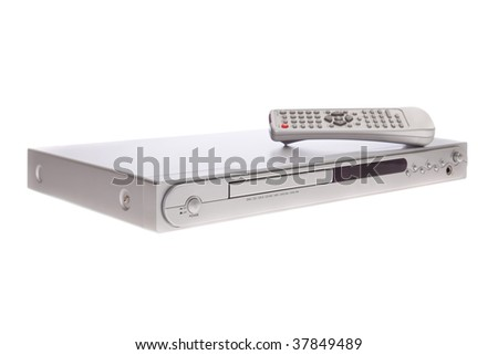 DVD player with remote control isolated on white background