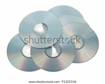 DVD recordable discs six pieces. Isolated on white background. - stock photo