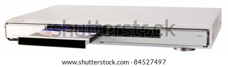 DVD recorder with open disk tray and loaded disk isolated on the white - stock photo